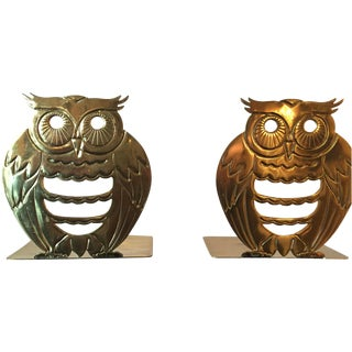 Gold Plated Owl Bookends - Pair