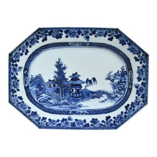 Chinese Export Underglaze Blue and White Porcelain Dish, 18th-century.