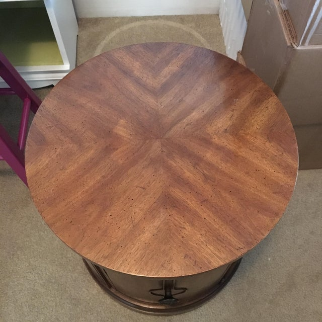 Image of Round Drexel Table With Storage