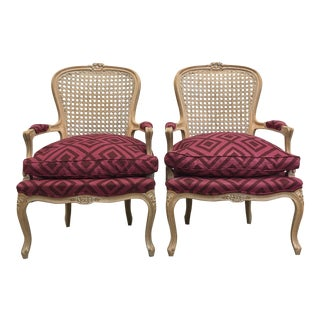 Pair of Pink Upholstered Cane Back Accent Chairs