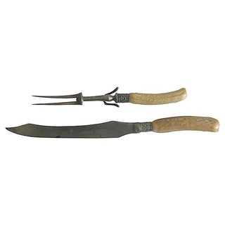 19th C. English Stag Horn Carving Set - A Pair