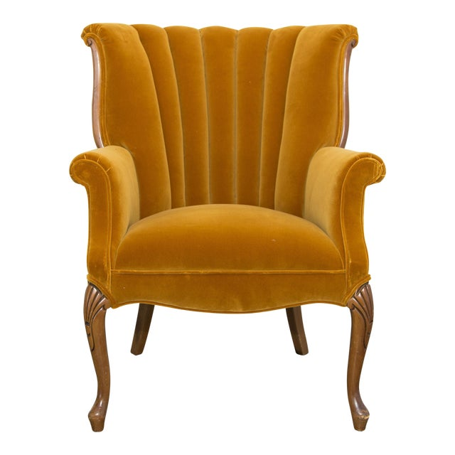 vintage mustard yellow side chair chairish. Black Bedroom Furniture Sets. Home Design Ideas