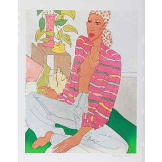 "V. Janopoulos, ""Woman in Pink Shirt,"" Lithograph"