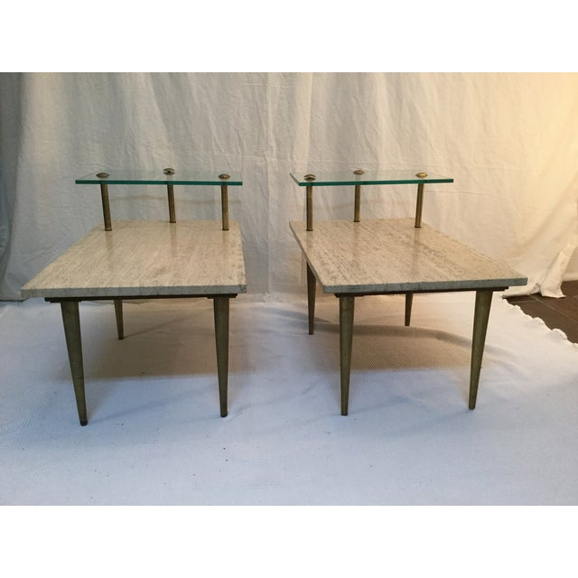 Image of 1950's Two Tear Travertine Side Tables - Pair