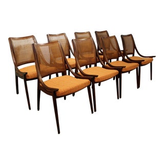 Mid-Century Modern John Stuart Glenn of California Cane Dining Chairs - Set of 8