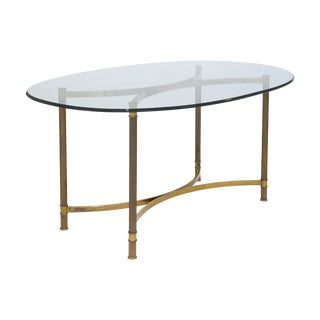 Oval Brass & Glass Dining Table