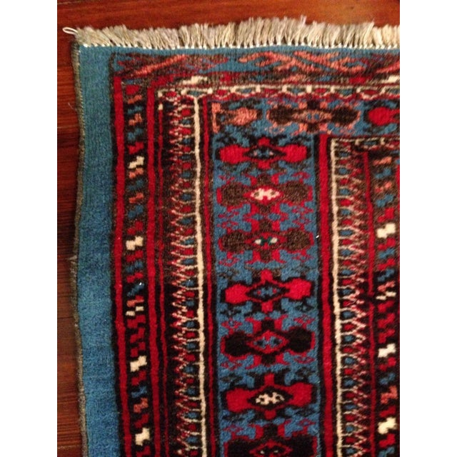 """Antique Blue/Red Persian Tribal Rug - 4'8"""" X 6'5"""" - Image 7 of 9"""