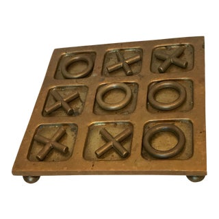 Vintage Solid Brass Tic Tac Toe Game