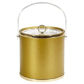 1960's Gilt Metal and Clear Plastic Ice Bucket
