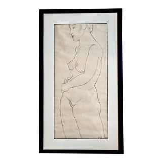 Vintage 1953 Female Nude Sketch Framed and Signed R. d'Arcy