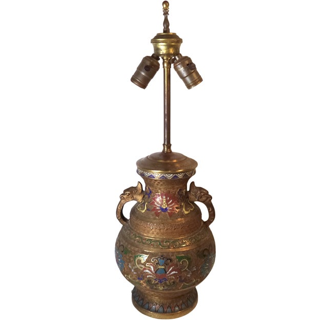 Japanese Champleve Lamp - Image 1 of 6