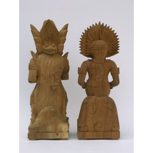 Image of Hand-Carved Wood Balinese Statues - A Pair