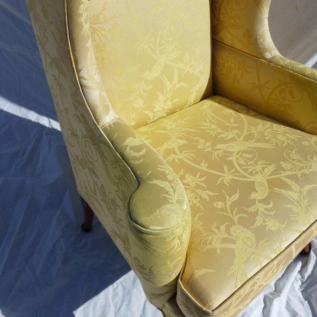 Vintage Mahogany & Yellow Damask Wingback Chair - Image 4 of 9