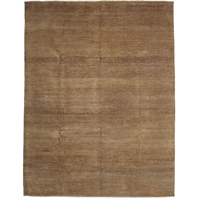 """New Tonal Stripe Hand Knotted Area Rug - 9' x 11'8"""" - Image 1 of 3"""
