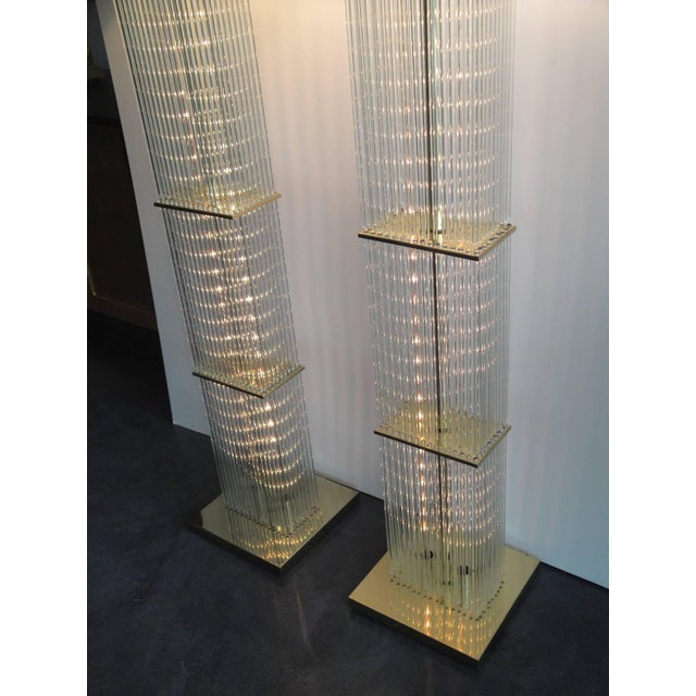 Pair of Sciolari Brass and Glass Floor Lamps for Lightolier - Image 6 of 9
