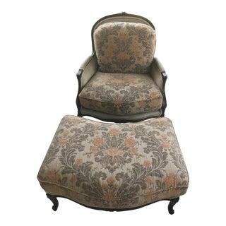 Henredon Louis XV Velvet & Chenille Chair & Ottoman