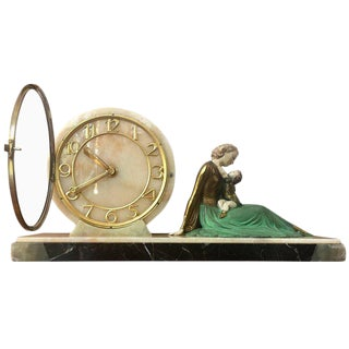 Art Deco Clock with Figurine, circa 1920 Signed by J.Roggia, France