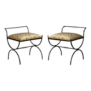 Pair French Black Iron Neoclassical Style Stools