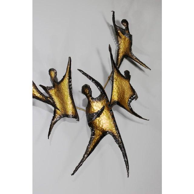 Brutalist Figural Brass Wall Sculpture - Image 4 of 8