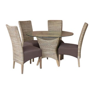 Wicker & Bamboo Dining Table & Chairs - Set of 5