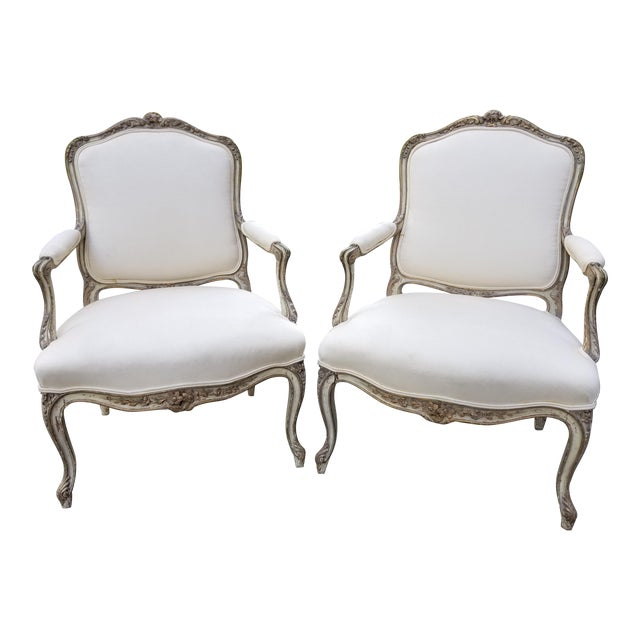Vintage French Louis XV Style Armchairs - a Pair - Image 1 of 11
