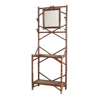 Vintage Bamboo Hall Tree with Mirror