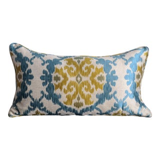 Turquoise Blue and Mustard Green Ikat Lumbar Pillow