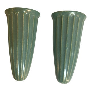 Arts & Crafts Celadon Green Pottery Wall Pocket Vases- A Pair