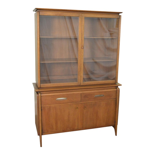 Drexel Projection Mid century Modern Walnut China Cabinet - Image 1 of 11
