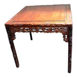 Chinese Asian Rosewood Lacquered Plum Blossom Design Bird Square Side Coffee Table Ming Style