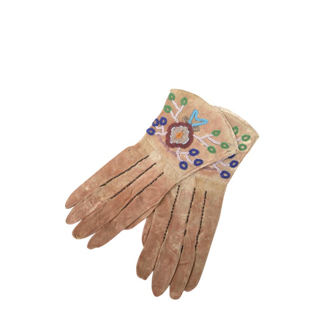 Native American Antique Leather & Beads Gloves - Image 1 of 7