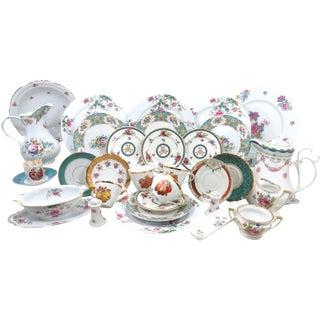 Mismatched Turquoise Fine China Dinnerware – 33 Piece Set