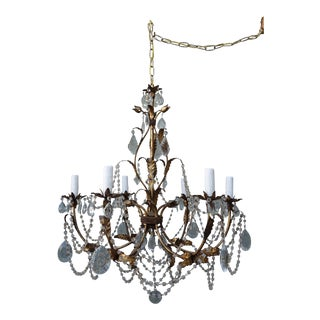 Italian 6-Light Crystal Gilt Metal Chandelier