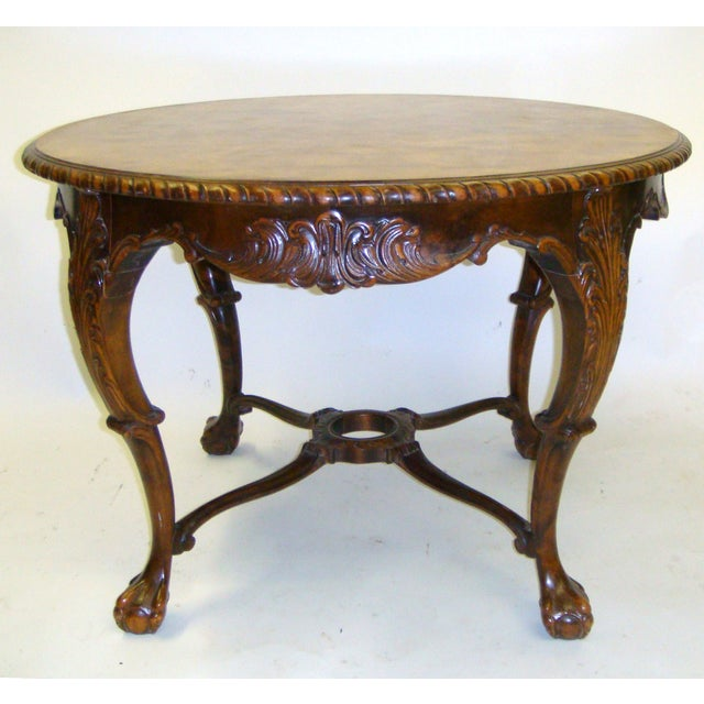 Swedish Flame Birch Carved Center Table - Image 3 of 5