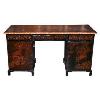 19th c. English Relief Carved Desk
