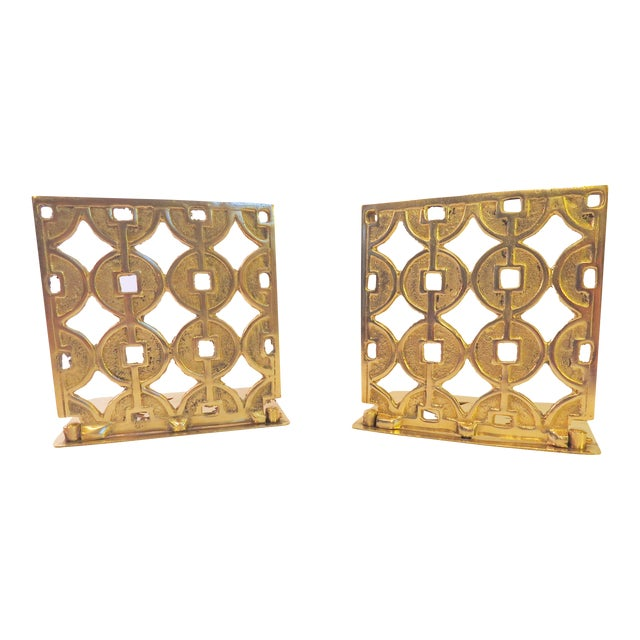 Vintage Art Deco Geometric Brass Shelf Bookends - Image 1 of 4