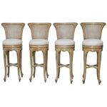 Image of Vintage Swedish Gustavian Style Petite Barstools - Set of 4