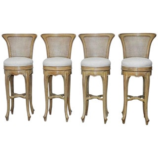 Vintage Swedish Gustavian Style Petite Barstools - Set of 4
