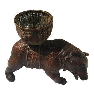 Vintage Blackforest Bear with Basket Candle Holder