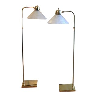 Brass Library Reading Floor Lamps - A Pair