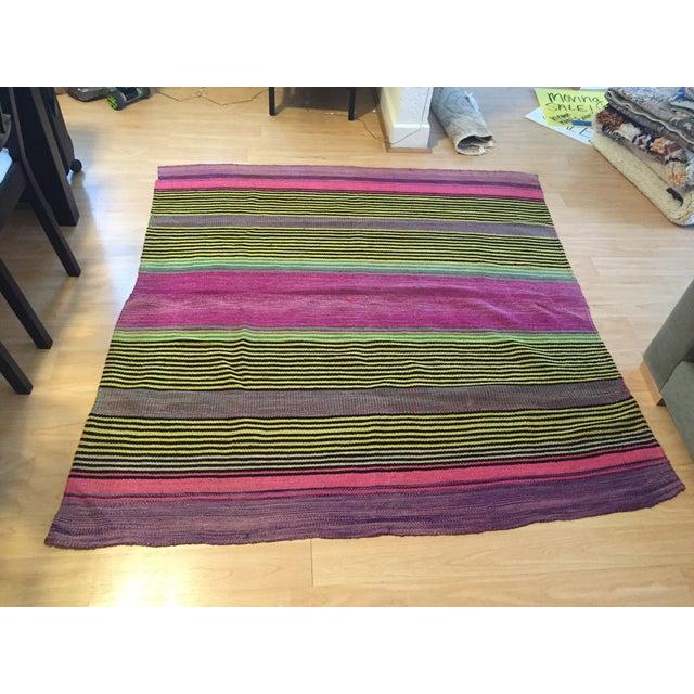 Image of Vintage Wool Stripe Rug - 4′6″ × 4′6″