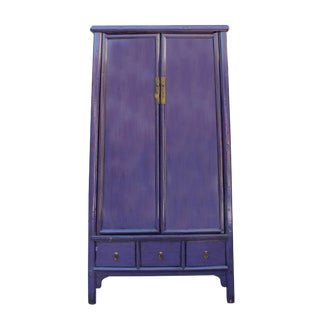Chinese Distressed Purple Lacquer Ladder Shape Tall Armorie Cabinet