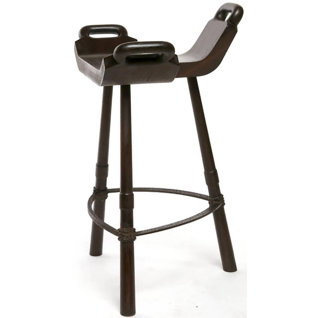 Image of Pair of Primitive Birthing Chair Inspired Bar Stools