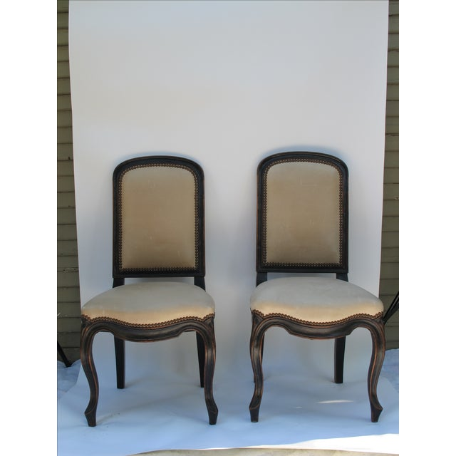 Cream Leather Spanish-Style Chairs - A Pair - Image 2 of 11