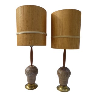 Mid-Century Pottery Lamp - A Pair