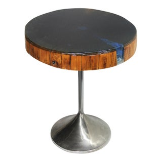 Modern Round Petrified Wood Side Table