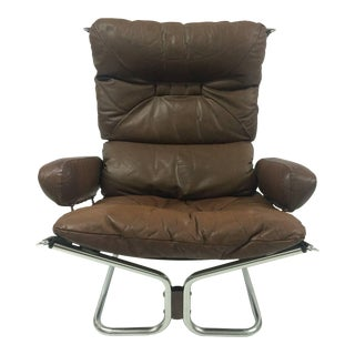Ingmar Relling Leather & Chrome Lounge Chair,