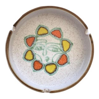 Mid-Century Modern Abstract Sun Motif Speckled Stoneware Ashtray