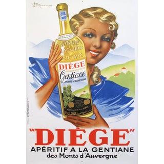 1936 French Art Deco Poster, Diege, Aperitif a la Gentiane