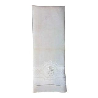 Antique Linen Damask Tea Towel-'P' Monogram